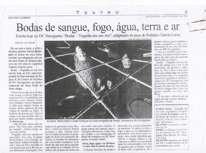 clipping Bodas _ Zero Hora _1999